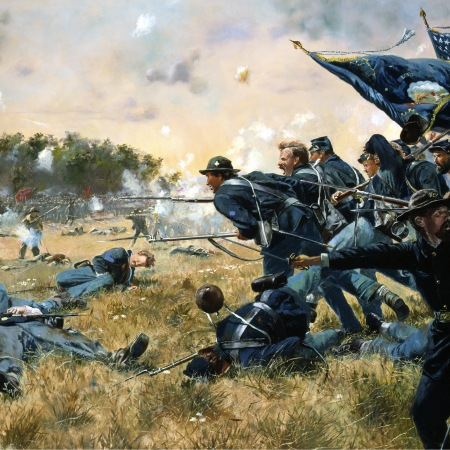 Painting of the First MN regiment at Gettysburg, outnumbered, but courageously attacking and dying. This is not one of the paintings from the article.